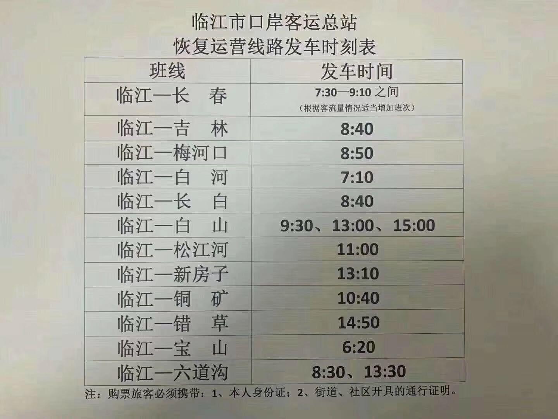 临江市口岸客运总站恢复运营线路发车时刻表